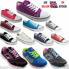 LADIES WOMENS LACE UP CASUAL GIRLS PLIMSOLLS GYM FLAT CANVAS SHOES PUMPS SIZE