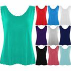 Womens Cropped Scallop Edge Vest Ladies Jersey Sleeveless Tank Casual Cami Top