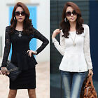 Women's Lace T-shirt Long Sleeve Shirt Peplum Crew Neck Blouse Tops White Black