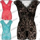 Ladies Floral Lace Jumpsuit All In One Womens Crossover Playsuit Shorts Dress