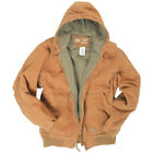 MIL-TEC HOODED MENS WORK COTTON CANVAS JACKET WARM PADDED WINDPROOF COAT COYOTE