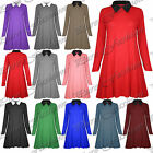 Ladies Long Sleeves Casual Plain Collared Flared Womens Jersey Swing Dress Top