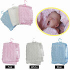 PINK WHITE BLUE - Soft Touch Rosette Baby Blanket by Hopscotch - 75cm x 100cm