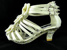 GIRLS LADIES IVORY KITTEN HEEL SATIN WEDDING BRIDESMAID PARTY SHOE 10 - 4