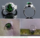 PREMIER CHIC ROUND EMERALD GREEN CUBIC ZIRCONIA CLEAR ACCENT DESIGN RING s 6 7 8