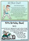 30th 40th 50th 60th 70th personalised Birthday Party Invitations cricket biker