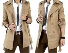 Mens Double Breasted Lapel Trench Coat Korean Stylish Slim Fit Long Coats