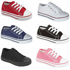 BOYS GIRLS JUNIOR KIDS FLAT LACE UP CANVAS PLIMSOLLS PUMPS INFANT TRAINERS SHOES
