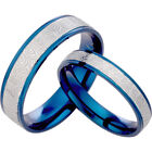 Blue His&Her Matching Wedding Titanium Rings 065A3