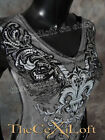 Womens VOCAL Shirt Short Sleeve Charcoal Grey with Sequin Fleurs & Floral Prints