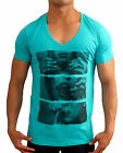 Mens DEEP V NECK DRUG slim fit fashion T-SHIRT festival designer unit S to 2XL