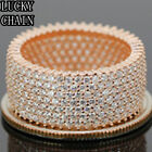 14K ROSE GOLD FINISH 925 STERLING SILVER ICED OUT LAB DIAMOND RING/7g/N25