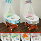 WICKER MOSES BASKET + STAND + WOODEN WHEELS + BEDDING STRIPES COLLECTION + DRAPE