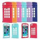 Cute Retro Telephone Booth Silicone Back Case Cover for Apple iphone 4 4S 5 5S
