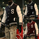 HANDSOME MEN CASUAL VARSITY BASEBALL SWEATER JACKET COAT COLLEGE STYLE LETTERMAN