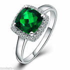 Navachi 925 Sterling Silver Square Emerald Engagement Wedding inlays Ring R9802