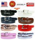 Внешний вид - KIDS CHILDREN STITCHED LEATHER BELT Silver Belt Buckle Boys Girls S M L XL
