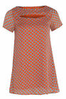 Womens Plus Size Mosaic Tile Print Swing Style Chiffon Tunic With Cut Out Detail