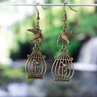 Antique Bronze/Silver Flying Bird Swollow and Cage Charm Pendant Dangle Earrings