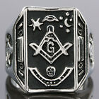 Disco Hippie Woman Man's Carved Skull The Free Mason's Sym Finger Ring Jewelry
