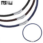 Ttstyle Leather With S.steel Clip-on Buckle Collar Necklace Choose Colour Size