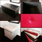 FAUX LEATHER OTTOMAN FOLDING FOLDABLE STORAGE BOX,FOOT STOOL,SEAT, 5 colours