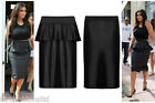 Womens Plus Big Size Pencil Skirt Ladies Wet Look Shift Peplum Knee Length Midi