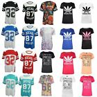 WOMENS FLORAL PRINT VARSITY T SHIRT OVERSIZE AMERICAN BASEBALL BAGGY JERSEY TOP