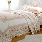 Pink Lille Floral Quilted Bedspread Set With Pillowshams Single Double King
