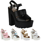 New Ladies Platform Womens Cleated Sole Chunky High Heel Sandals Shoes Size 3-8
