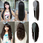 Womens Girl Long Straight Curly Wavy Half Wig Hair Cosplay Hairpiece Clip In New