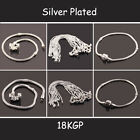 Snake Carved Clasp Silver Plated 7.5 - 9inch Chains Bracelet Fit European Beads