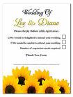 Sunflowers Personalised Wedding RSVP Reply Cards With Envelopes Matching Invites