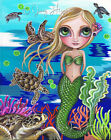 """Turtle Cove Mermaid"" Art Print Big Eye Girl Sea Beach Blue Fantasy Painting Jaz"