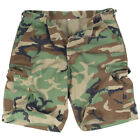 ARMY PATROL COMBAT MENS WORK SHORTS FISHING CARGO RIPSTOP US WOODLAND CAMO S-XXL