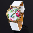 New Flower Face Style Leather Woman Lady Females Analog Quartz Wrist Watches