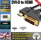 DVI to HDMI Digital Cable/Lead PC Laptop Sky LCD HD TV LED GOLD Long Full HD