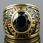 Black Crystal Rhinestone Gold Stainless Steel Punk Biker Woman Man's Finger Ring