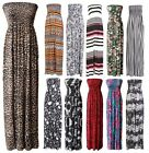 Womens Ladies Printed Strapless Summer Maxi Dress PLUS SIZE Long Dress Size 8-22