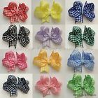 Baby/Girl Handmade Butterfly Gingham School Summer Dress Hair Bow Clip 12 COLOUR
