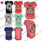 Womens Ladies Side Ruched Gold Tiger Face Batwing Casual Baggy Vest T Shirt Top