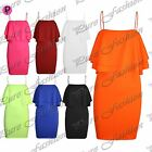 New Womens Ladies Celebrity Off Shoulder Strappy Double Frill Bodycon Mini Dress