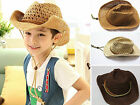 B boy & girl Western Style Cowboy Hat Wide Brim Summer Straw Hat Beach party Cap