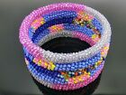 5 pcs Bohemia Hippie Nepal Roll On Bracelets Crochet Glass Seed Bead Bangle hand