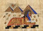 "Egyptian Papyrus Painting - Pyramids & Sphinx 8X12"" + Hand Painted #77"