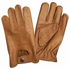 New top quality real soft leather men's driving fashion gloves retro Tan 7011