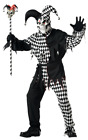 Adult Mens Scary Evil Medieval Jester Halloween Fancy Dress Costume