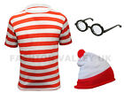 CHILDREN RED & WHITE STRIPED T SHIRT HAT GLASSES BOOK DAY FANCY DRESS COSTUME