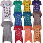 New Womens Plus Size Colourful Butterfly Sequin Print Hanky Hem Tops 14-28