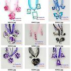 k004m44 Silver Plate Animal Flora Rhinestones Pendant Silk Necklace Earrings Set